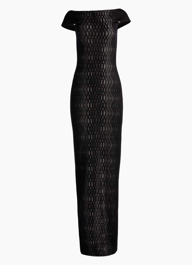 St. John Illusion Jacquard Knit Off Shoulder Gown