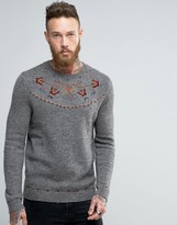 Asos Embroidered Sweater in Wool Mix