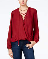 Lily Black Juniors' Lace-Up Surplice Top, Created for Macy's