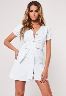 Missguided White Denim Button Through Milkmaid Dress