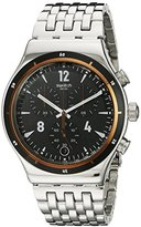 Swatch Men's YVS419G Irony Analog Display Swiss Quartz Silver Watch
