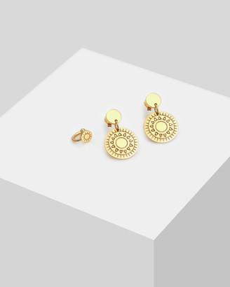 Elli Jewelry Earring Set Ornament Earcuff in 925 Sterling Silver Gold Plated