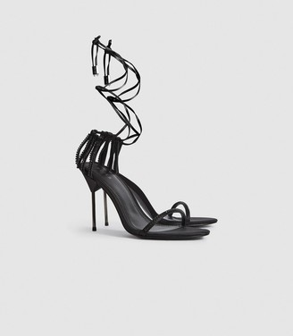Reiss Zhane Crystal - Embellished Strappy Wrap Sandals in Black