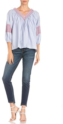 Miss Me Embroidered V-Neck 3/4 Sleeve Blouse (Light Blue) Women's Clothing