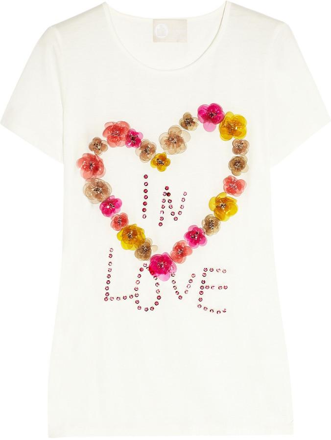 Lanvin Embellished jersey T-shirt
