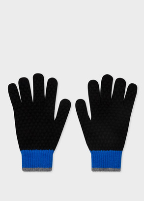 Paul Smith Men's Black Colour-Block Textured Wool Gloves