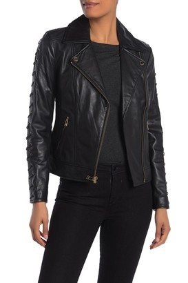 GUESS Lace-Up Sleeve Leather Jacket