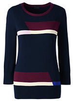Classic Women's Petite Supima 3/4 Sleeve Colorblock Sweater-Radiant Navy Colorblock