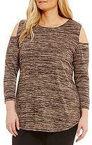 Allison Daley Plus 3/4 Sleeve Cold-Shoulder Melange Tunic