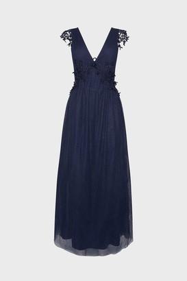 Coast V-Neck Spot Mesh Lace Maxi Dress