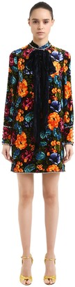 Gucci Floral Printed Dress W/ Velvet Bow