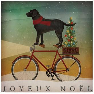 Trademark Fine Art Ryan Fowler 'Black Lab On Bike Christmas' Canvas Art
