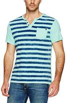 Buffalo David Bitton Men's Kipunk Short Sleeve Henley Stripe Fashion Knit Shirt