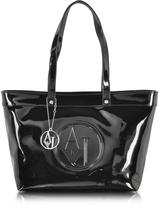 Armani Jeans Black Eco Patent Leather Large Tote Bag