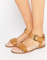 G Star G-Star Claro Tan Leather Flat Sandals