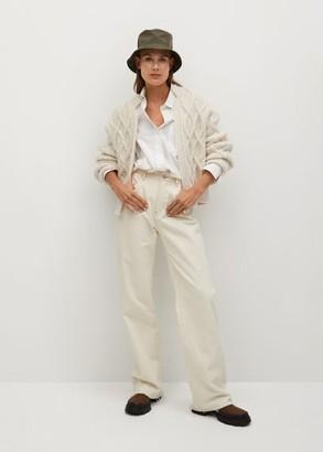 MANGO Chunky knit cardigan light/pastel grey - S - Women