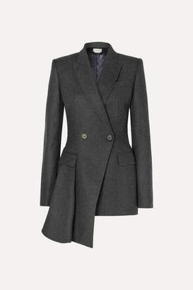 Alexander McQueen Asymmetric Draped Double-breasted Wool Blazer - Gray