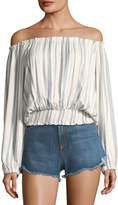 Melissa Odabash Adriana Off-the-Shoulder Striped Blouson Top, One Size