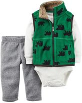 Carter's Baby Boy Bear Fleece Vest, Thermal Bodysuit & Pants Set