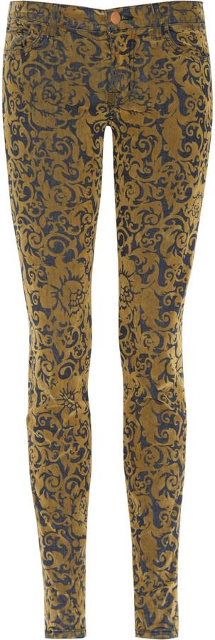 J Brand Brocade-flocked low-rise skinny jeans