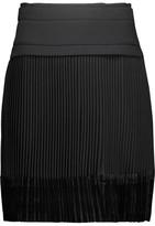 Carven Velvet-Paneled Pleated Crepe Mini Skirt