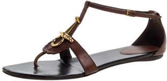 Gucci Dark Brown Leather Horsebit Thong Ankle Strap Flat Sandals Size 38.5