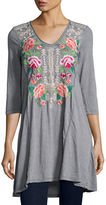 Johnny Was Dorana 3/4-Sleeve Embroidered Tunic, Plus Size