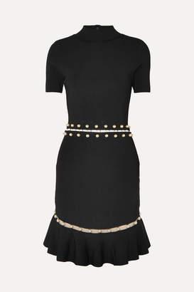 Alice + Olivia Evelyn Embellished Cutout Stretch-knit Dress - Black