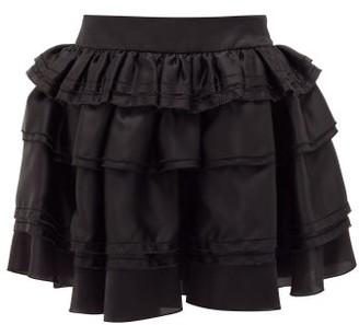 Alexandre Vauthier Tiered Satin-organza Skirt - Black