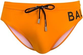 Balmain Orange Swimming Trunks With Logo Print At The Side