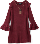 Amy Byer Wine Ruffle-Sleeve Shift Dress & Necklace - Girls
