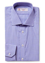 Turnbull & Asser Blue Cutaway-Collar Gingham Cotton-Poplin Shirt