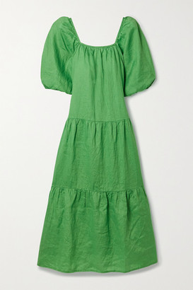 Solid & Striped Peasant Tiered Crinkled-linen Maxi Dress - Green
