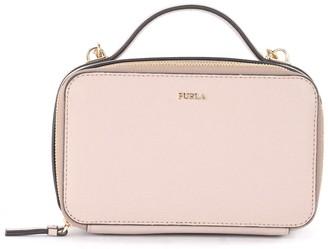 Furla Babylon M Bandolier Bag In Beige Leather With Shoulder Strap And Handle