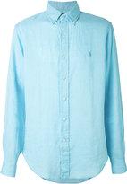 Ralph Lauren long sleeve logo shirt - men - Linen/Flax - XL