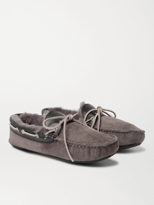 Quoddy Fireside Leather-Trimmed Shearling-Lined Suede Slippers - Men - Gray
