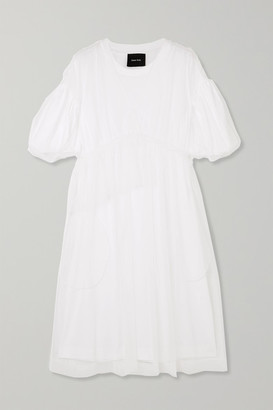 Simone Rocha Gathered Tulle And Cotton-jersey Midi Dress - White