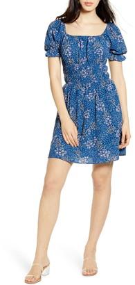 One Clothing Shirred Waist Floral Minidress