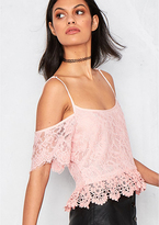 Missy Empire Olympia Pink Crochet Short Sleeve Crop Top