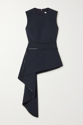 Safiyaa Corida Asymmetric Draped Crystal-embellished Stretch-crepe Top - Midnight blue