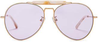 Dries Van Noten Aviator Sunglasses in Yellow Gold, Horn & Lilac | FWRD