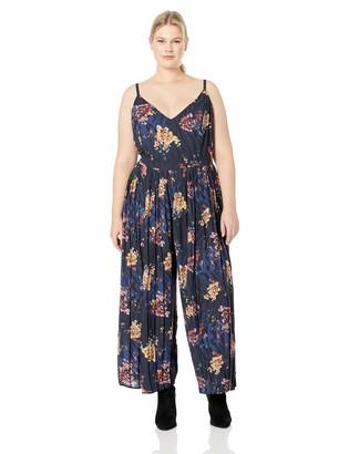 City Chic Women's Apparel Women's Plus Size Sleeveless Wide Leg Print Jumpsuit