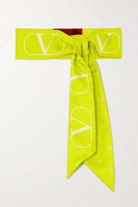 Valentino Neon Printed Silk-twill Scarf - Green