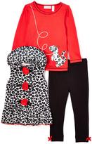 Kids Headquarters Red Leashed Dalmatian Tee Set - Girls