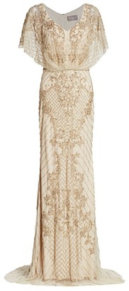 Theia Bejeweled Cape Column Gown