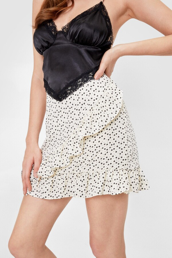 Thumbnail for your product : Nasty Gal Womens Lace Polka Dot Ruffle Mini Skirt - White - 10