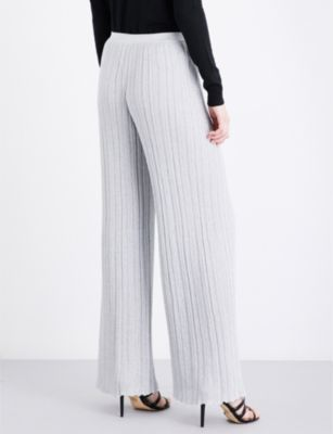 Missoni Lateral-stripe wide high-rise metallic-knit trousers