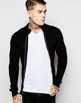 Diesel Zipthru Cardigan K-cielos Rib Knit - Black