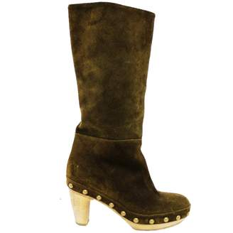 Marni \N Khaki Suede Boots