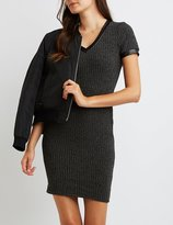 Charlotte Russe Ribbed Faux Leather-Trim Bodycon Dress